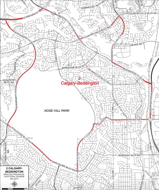 Calgary-Beddington Alberta Map