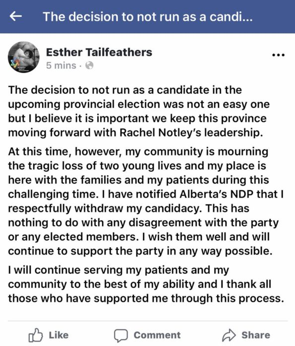 Message from Dr. Esther Tailfeathers NDP