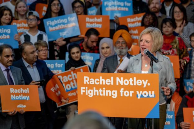 Rachel Notley at a rally in north east Calgary.