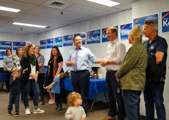 Jason Kenney at the opening of his campaign office in Calgary-Lougheed (source: Facebook)