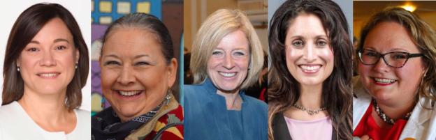 Women in Alberta Politics: Shannon Phillips, Cheryle Chagnon-Greyeyes, Rachel Notley, Leela Aheer, and Sarah Hoffman.
