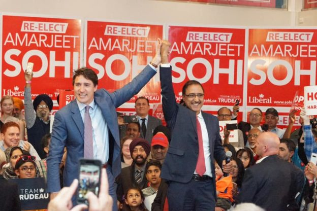 Amarjeet Sohi Justin Trudeau in Edmonton Mill Woods