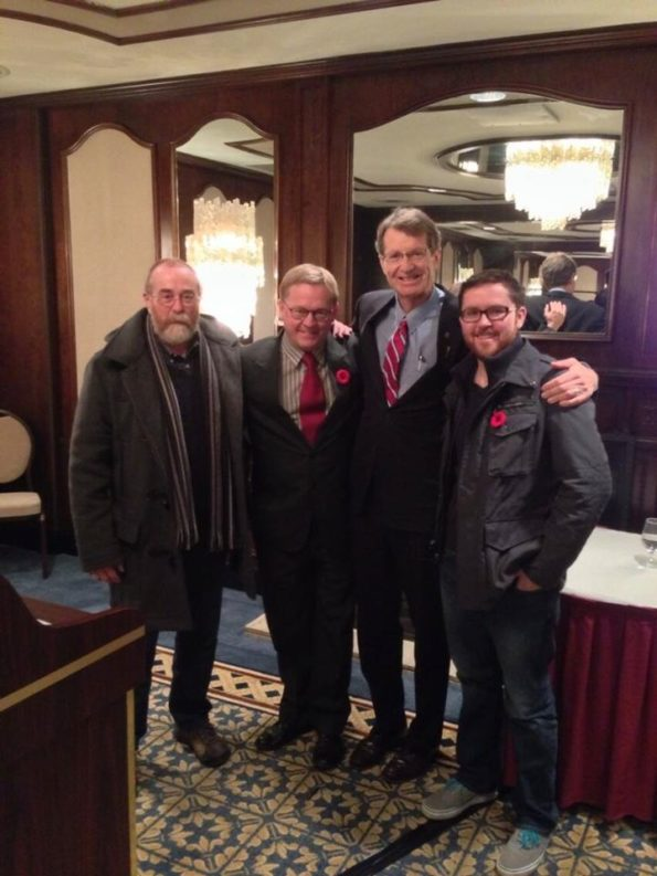 The Four Daves of Alberta politics. blogger David Climenhaga, NDP MLA David Eggen, Liberal MLA David Swann, and blogger Dave Cournoyer. (2013)