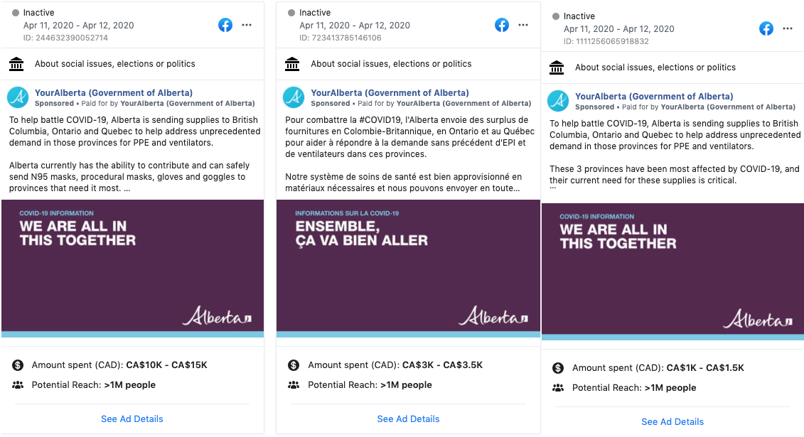 Alberta Government Facebook ads purchased on April 11-12, 2020.