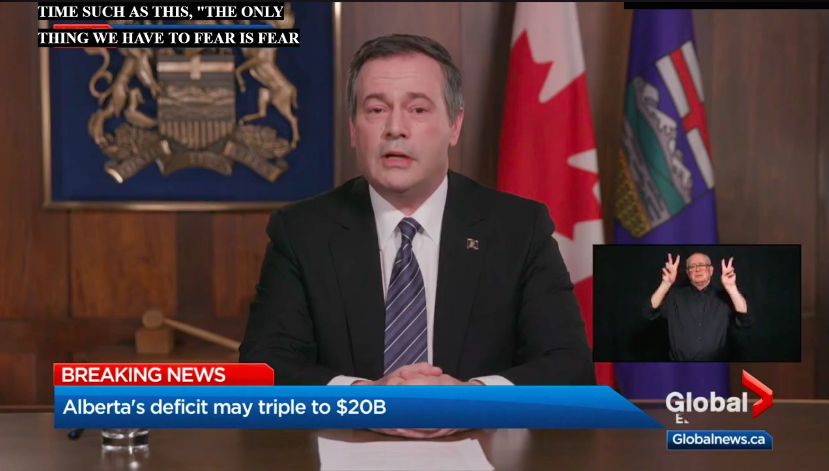 Premier Jason Kenney delivering a televised address on April 7, 2020.