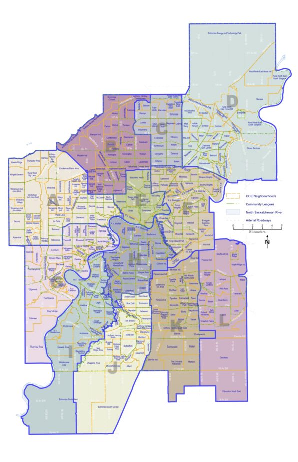 The new Ward boundaries proposed by the Edmonton Electoral Boundaries Commission.