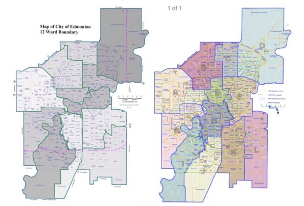 The current ward boundaries (left) and the proposed ward boundaries for the 2021 election (right)