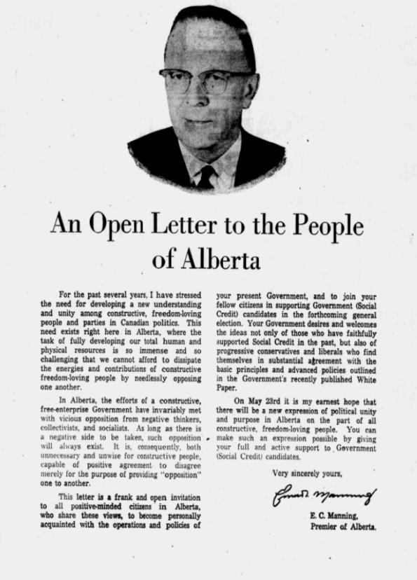 Ernest Manning Social Credit Alberta 1967 election