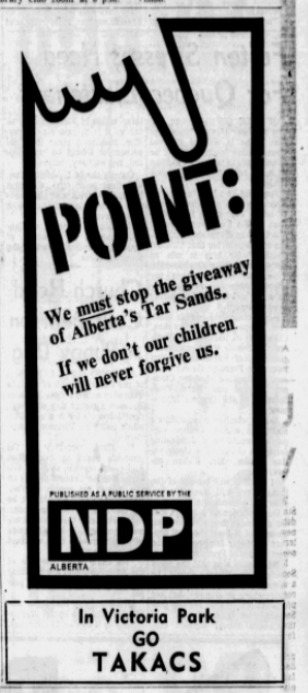 An NDP ad in Alberta's 1967 election.