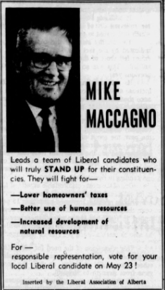 An ad for Michael Maccagno, leader of the Liberal Party and MLA for Lac La Biche.