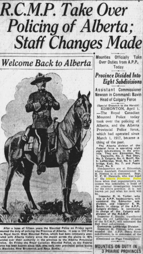 RCMP Take Over Policing of Alberta, Calgary Daily Herald, April 15, 1932