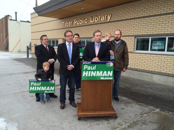Drew Barnes stands at Paul Hinman's side as he announced his bid to once again run for the Wildrose nomination in Cardston-Taber-Warner in 2015.