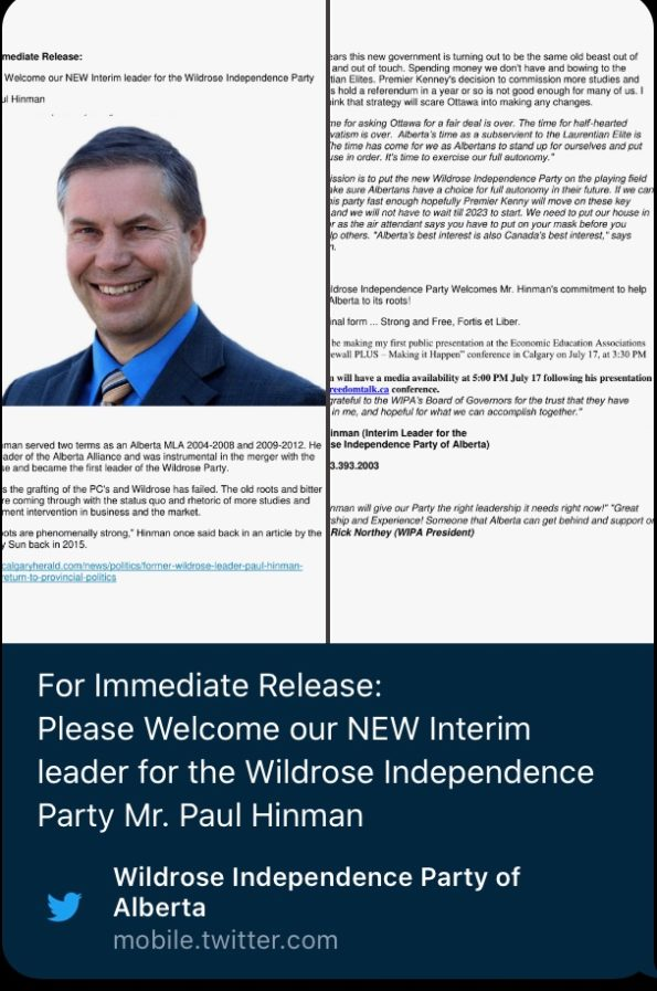 Paul Hinman leader of the Wildrose Independence Separatist Party