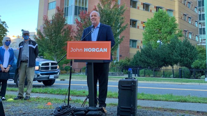 BC NDP leader John Horgan at an election campaign press conference (source: Twitter)