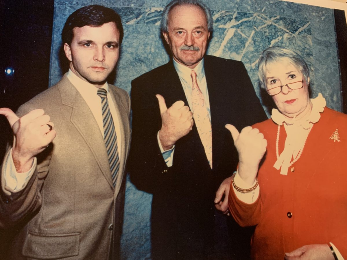 Grant Mitchell, Nick Taylor and Bettie Hewes Alberta Liberal Caucus 1986