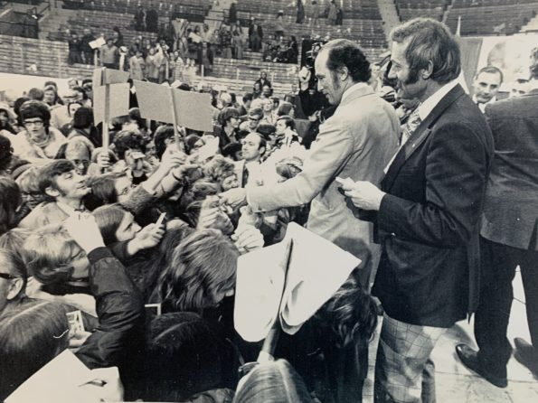 Nick Taylor and Pierre Trudeau in Calgary Alberta Liberal Party election