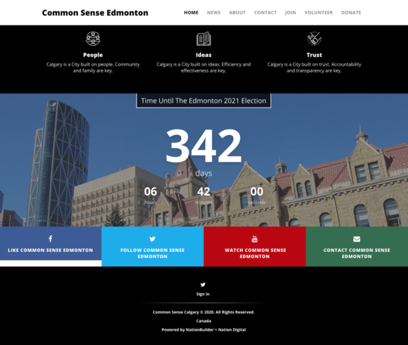 "Screenshots from the ""Common Sense Edmonton"" website."