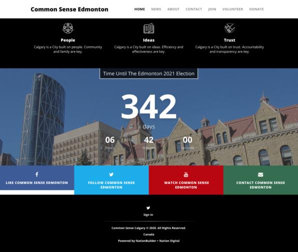 "Screenshots from the ""Common Sense Edmonton"" website."
