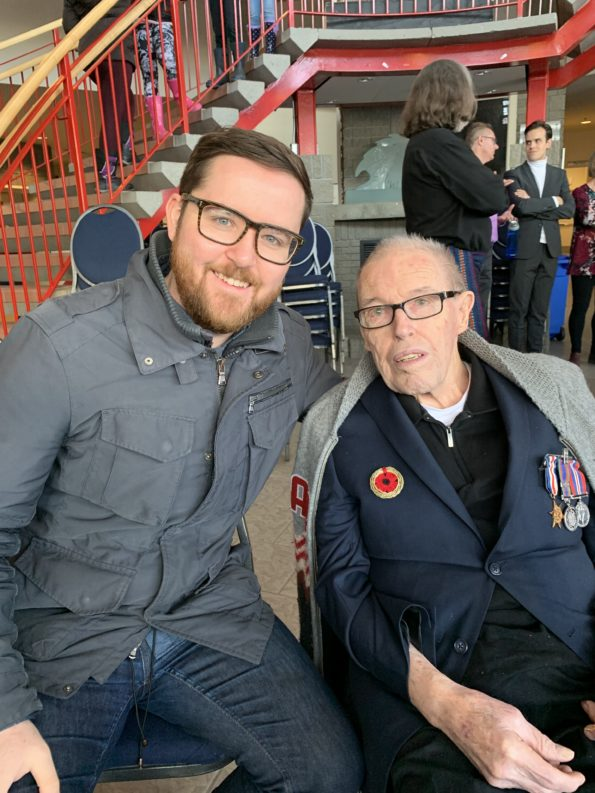 With my grandfather, Daniel Cournoyer, at the Remembrance Day ceremony in 2019.