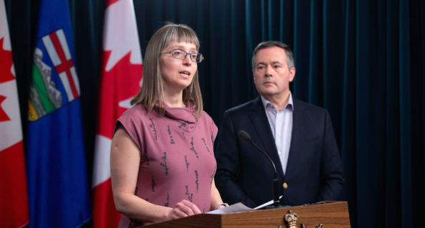 Dr. Deena Hinshaw and Premier Jason Kenney at a March 15 press conference about COVID-19.