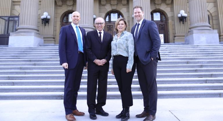 The Alberta Party at its Zenith: Calgary-Elbow MLA Greg Clark, party leader Stephen Mandel, Calgary-Calgary-Mackay-Nose Hill MLA Karen McPherson, and Calgary-South East MLA Rick Fraser.