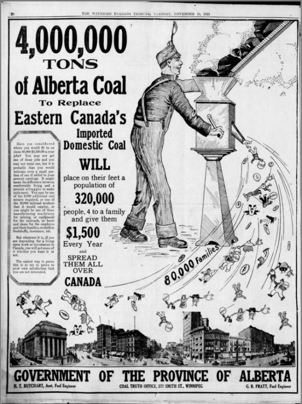 A full-page newspaper ad from the Alberta COAL TRUTH OFFICE (published in the Winnipeg Tribune on Nov. 13, 1923)