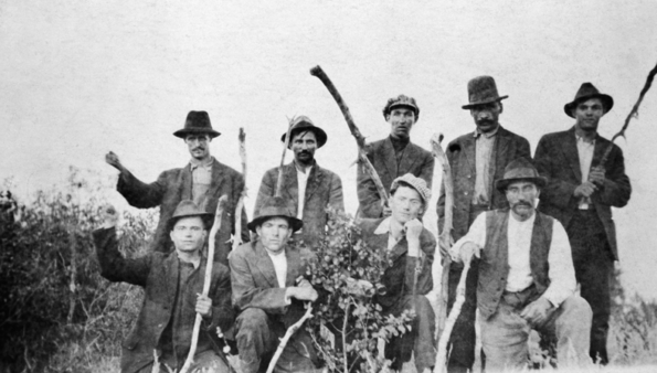 Striking coal miners in Drumheller