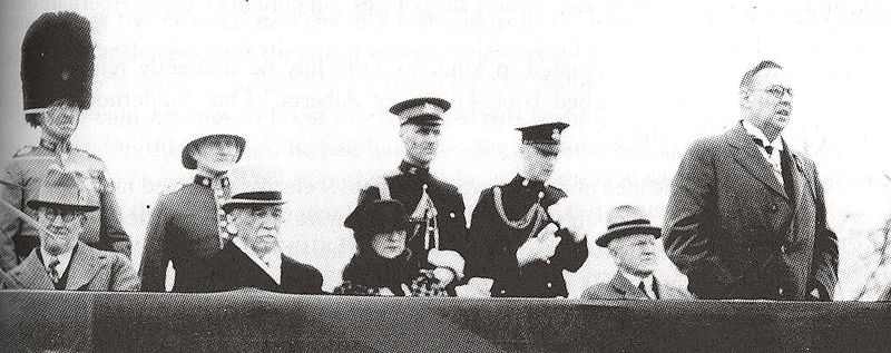 Premier Richard Reid, right, giving a speech in Edmonton on the occasion of George V's silver jubilee