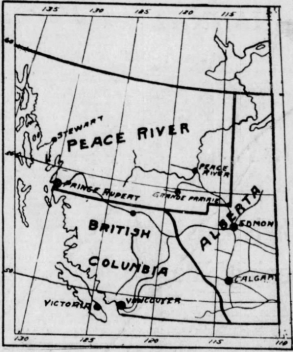 A map of the proposed Province of Peace River
