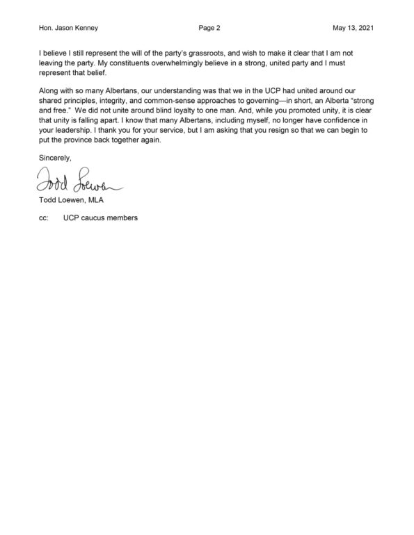 Letter from Todd Loewen calling of Jason Kenney to resign