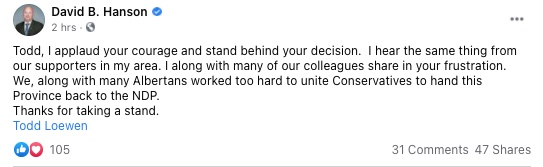 MLA David Hanson's Facebook post supporting Todd Loewen's letter calling on Jason Kenney to resign as leader of the United Conservative Party.