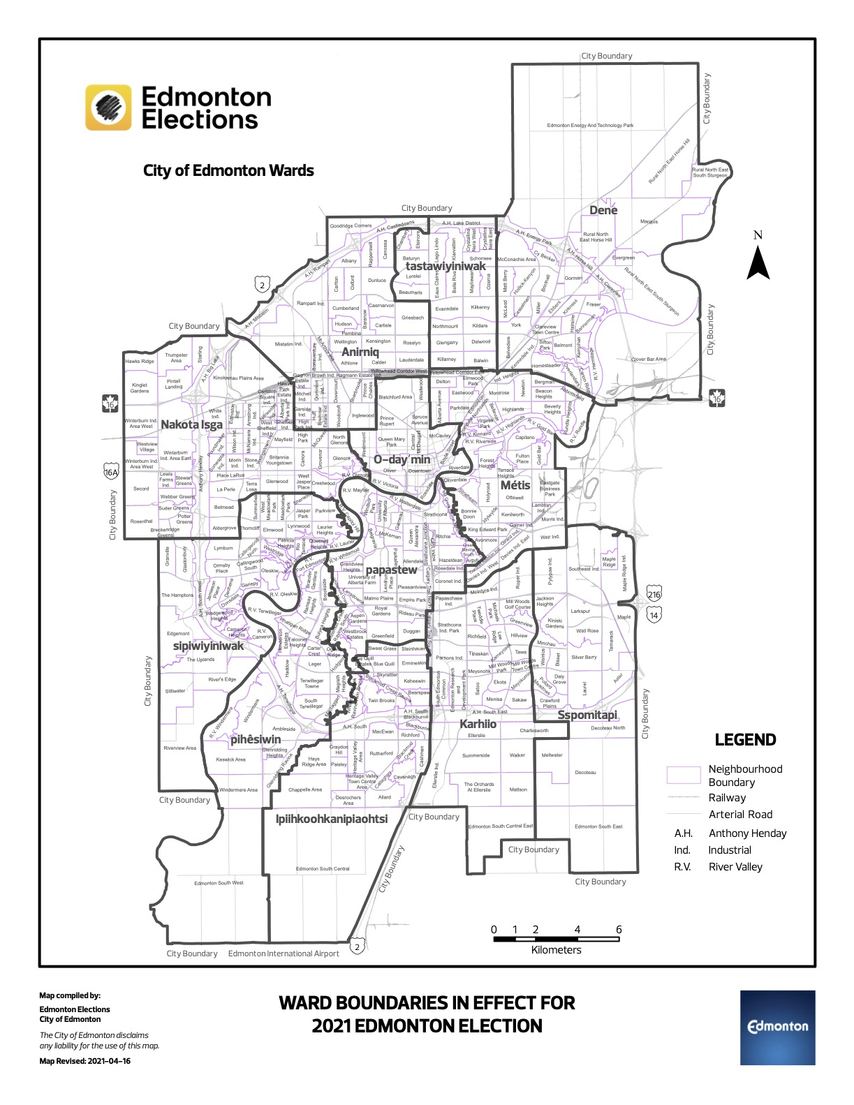 Ward Boundary Map with new names for Edmonton's 2021 municipal elections.