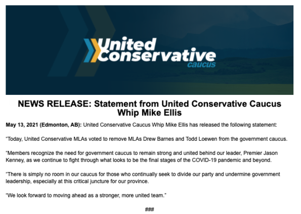 United Conservative Party statement Mike Ellis Drew Barnes Todd Loewen