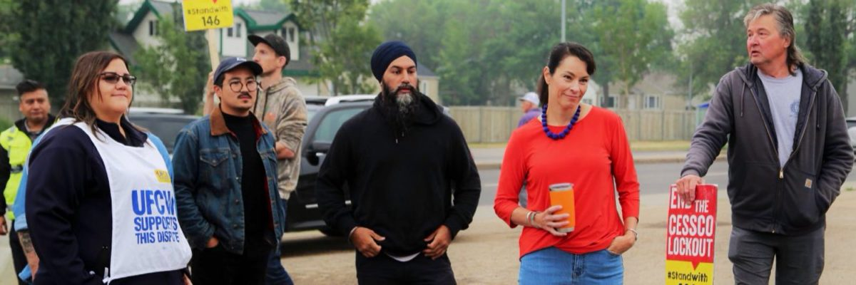 NDP leader Jagmeet Singh with Edmonton-Griesbach candidate Blake Desjarlais and Edmonton-Strathcona MP Heather McPherson on the picket line supporting Local 146 Boilermakers who have been locked out by CESSCO since last summer.