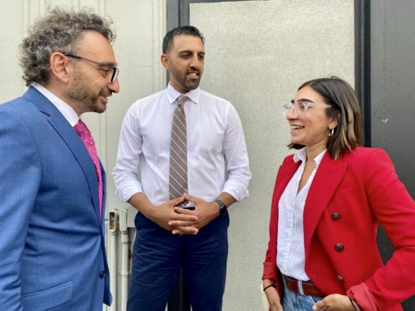 Transport Minister Omar Alghabra with Calgary Liberal candidates George Chahal and Sabrina Grover. (Source: Twitter)