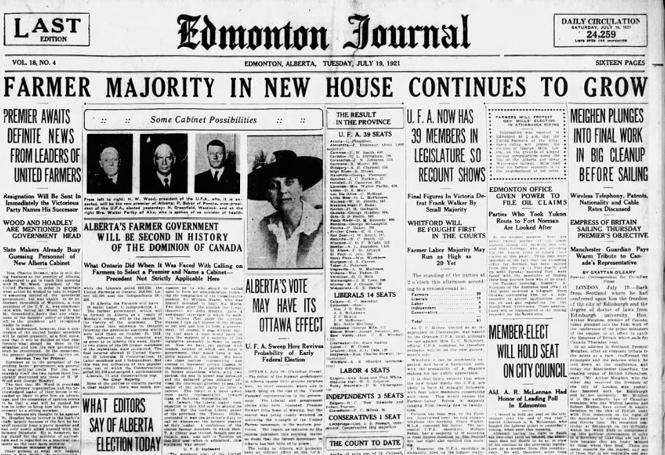 United Farmers of Alberta win election Edmonton Journal, July 19 1921