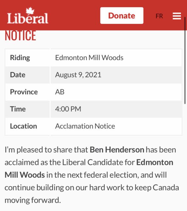 This nomination notice was posted on the Liberal Party of Canada website this evening.