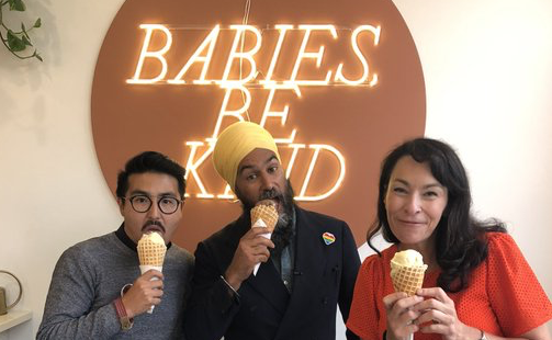 Blake Desjarlais, Jagmeet Singh, and Heather McPherson at Kind Ice Cream in Highlands in July 2021.