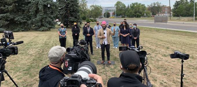 NDP leader Jagmeet Singh makes a health care announcement outside the East Edmonton Health Centre