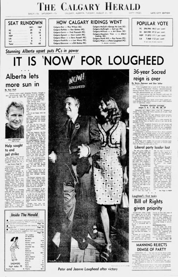 The front page of the Calgary Herald on August 31, 1971.
