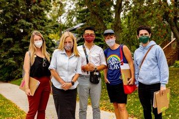 Rachel Notley and Janis Irwin with Blake Desjarlais and volunteers in Edmonton-Griesbach.