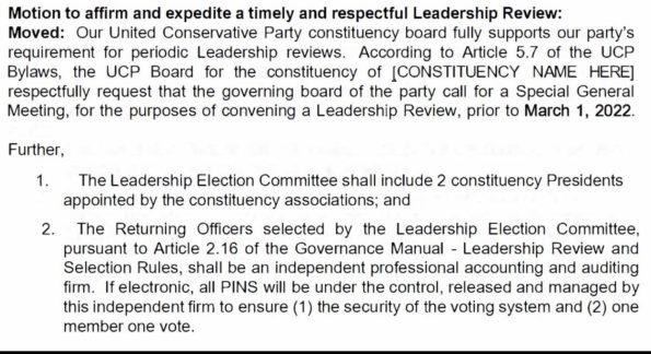 Text of the UCP motion calling to hold a review of Jason Kenney's leadership before March 1, 2021.